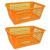 Set of 2 Multipurpose Storage Basket, Lightweight Plastic, BPA Free (ORANGE)