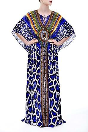 Jaguar Lace Up Kaftan Long Dress in Blue: Amazon Fashion