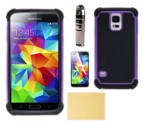 Samsung Galaxy S5 Instance, Cover - Best Double Armor Ballistic, Disgust Absorbent, Heavy Duty, Low Profile, with Honorarium Screen Protector and Stylus Accessories Bundle Kit, Multiple Colors Purple, Hot Pink, Angry - For Men/Guys, Women, Boys, Girls, Hi
