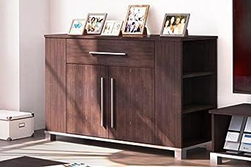 In MDF, effetto legno, colore: marrone scuro, a 2 ante, 1 cassetto, credenza con mensole-Libreria/mobili per camera da letto, ufficio, la casa