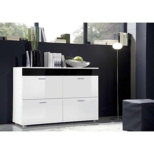 JUSThome-LOGO-Kommode-Sideboard-Wohnzimmerschrank-HxBxT-75x100x40-cm-Wei-Matt-Wei-Schwarz-Hochglanz