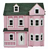 New in Box Pink Wooden 3 Storey Veranda Fronted Collectors Dolls House Kit