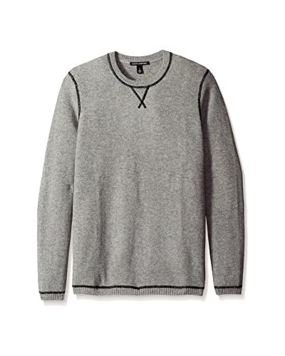 Autumn Cashmere Men's Honeycomb Crew with Suede Elbow Patch