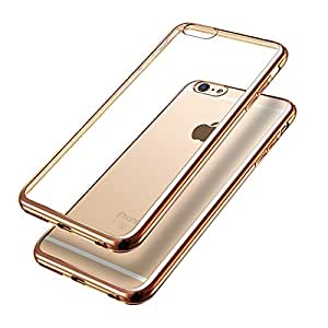 Tarkan Electroplated [Metallic Chrome Finish] Ultra Slim Flexible Back Case Cover For iPhone 7 [Champagne Gold]