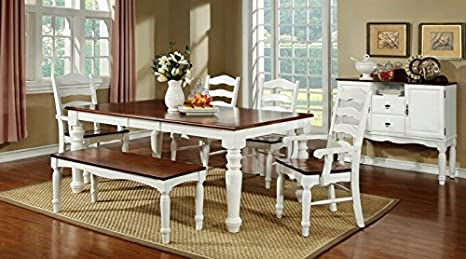 6 pc Palisade collection country style two tone white and cherry finish wood dining table set with turned legs