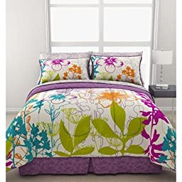 Reversible Teen Girls Bedding Comforter & Sheet Set, Twin size 5pcs Comforter set, Blue, Purple, Multi color, Green Giant Floral Bed in a Bag & Ln trade mark home-made head massage Comb (Twin)