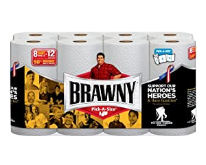 Brawny Giant Rolls, White, Pick-A-Size, 8 Count (Pack of 32)