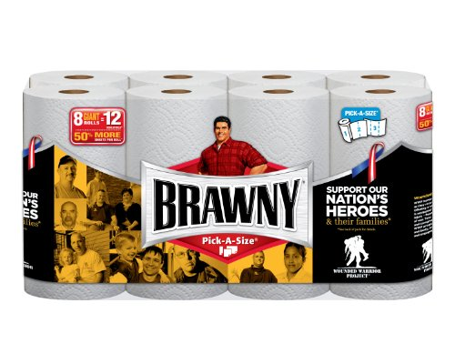 Brawny Paper Towels, 8 Giant Rolls, Pick-A-Size, White