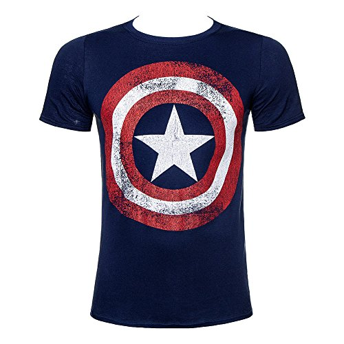 T Shirt Captain America Distressed Marvel Comics (Blu) - X-Large
