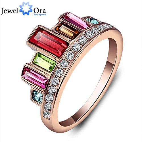 Slyq Jewelry Best Gift Party Valentines Day Gift Gold Jewelry Crown Rose Yellow Colourful Ring (Jewelora Ri100831)