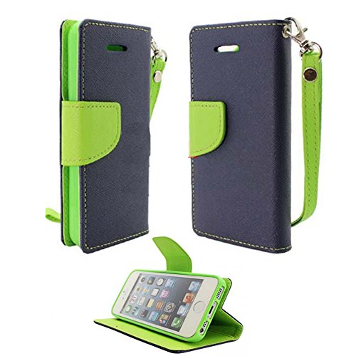 Mylife (Tm) Space Blue + Mantis Green {Hipster Design} Faux Leather (Card, Cash And Id Holder + Magnetic Closing) Slim Wallet For The Iphone 5C Smartphone By Apple (External Textured Synthetic Leather With Magnetic Clip + Internal Secure Snap In Hard Rubb front-220193