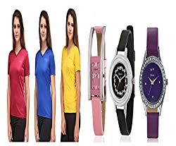 Oleva Combo Set Of 6 (3 T-Shirt + 3 Leather Watch) For Women OVD-901