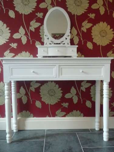 Shabby Chic Belgravia White Dressing Table and Mirror