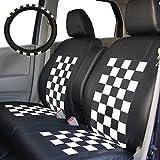 NWGN専用シートカバー スクープチェック ブラック×ホワイト