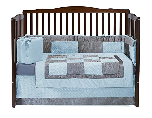 Baby Doll Croco Minky Crib Set, Blue/Grey