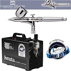IWATA CUSTOM MICRON CM-C AIRBRUSHING SYSTEM WITH SMART JET PRO AIR COMPRESSOR