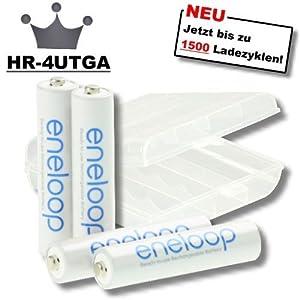 16 x Sanyo Eneloop Micro Akkus Batterien AAA in speziellen, robusten Akkuboxen der Akku-Onlinehandel GmbH - NEUESTE VERSION HR-4UTGA - 50% mehr LEBENSDAUER - bis 1500 LADEZYKLEN
