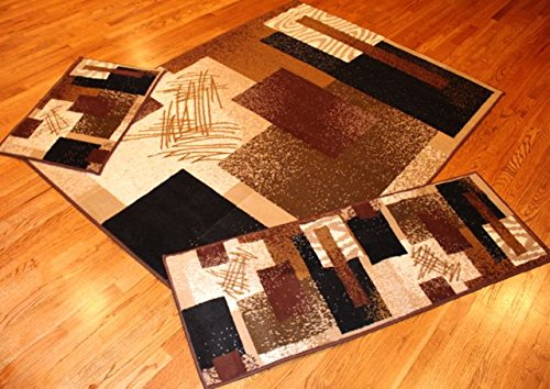 Rug and Decor Elements Collection 3 Piece Area Rug Set Area Rug Scatter and Runner #5142 Choco Brown Modern Abstract Rug Set