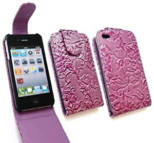 Emartbuy® HD Premium PU Leather Floral Wall Paper Textured Flip Case Cover For Apple iphone 4/4g