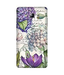 Voilet Flowers Stamp Back Cover Case for Samsung Galaxy On7