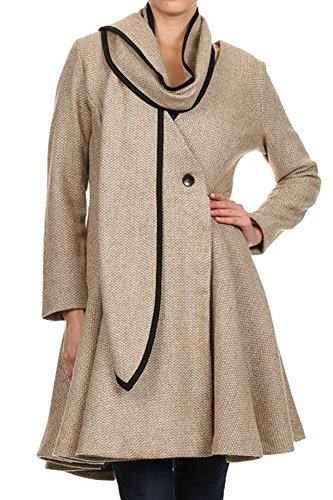 Tan Tweed V-Neck Long Sleeve Collarless A-line Jacket with ...