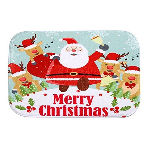 Eizur Natale Corallo Zerbino Cucina Antiscivolo Tappeto Bagno Zerbini Ingresso Indoor Outdoor Sportello anteriore Tappetini Natale Decorazione Taglia 40 * 60cm--Babbo Natale