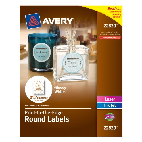 order avery print to the edge round labels glossy white 2 5 inch diameter 90 labels 22830. Black Bedroom Furniture Sets. Home Design Ideas