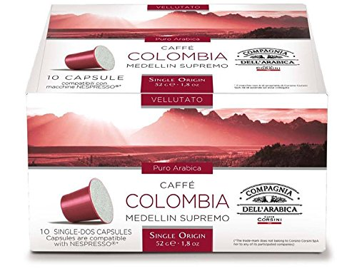Find Nespresso Compatible Capsules SINGLE ORIGIN Compagnia dell'Arabica - COLOMBIA MEDELLIN - 10 caps / box (TOTAL: 30 caps) - Compagnia dell'Arabica - a Caffe Corsini S.p.A. company Group