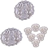 GS MUSEUM Silver Plated Rani Kumkum Plate 2 Sets And Silver Plated Set Of 6 Sunflower Diyas