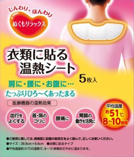 ぬくもりラックス衣類に貼る温熱シート 5P