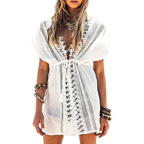 41764cabee354 MG Collection White Crochet Zigzag Edge V Neck Swimsuit Cover Up / Beach  Dress