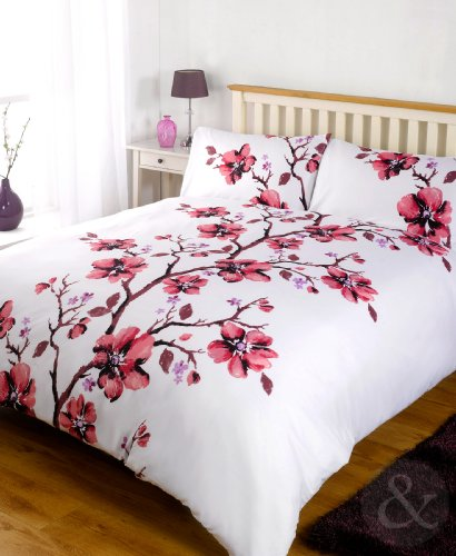 Red Purple ORIENTAL BEDDING Vintage Floral Bed Quilt Cover Duvet Cover Set Single Duvet Cover