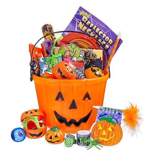 Halloween Toy Filled Pumpkin Bucket Filled with High Quality Halloween Toys (Includes Creepy Eyes Teeth Light up Rings Slap Bracelets Creepy Pictured Coloring Books Halwoeen Poppers and More..