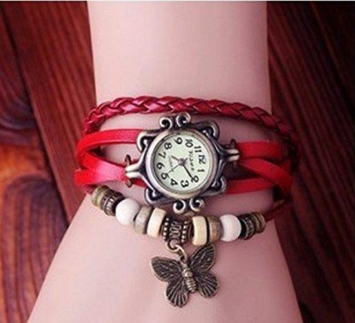 eDealz Vintage Fashion Butterfly Pendant Red Leather Bracelet Watch for Women