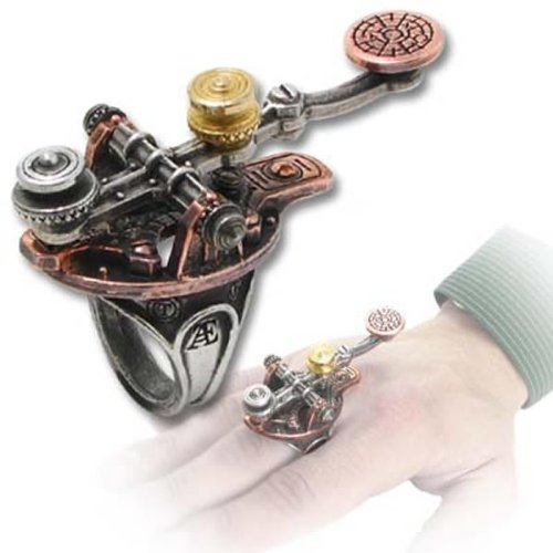 Alchemy Empire: Steampunk The J-32m Electrical Telegraph Finger Tapper Ring