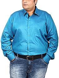 Xmex Men's Cotton Regular Fit Shirt (KR-254PEACOCK_3XL, Blue, 3X-Large)