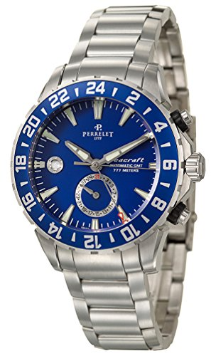 Perrelet Diver Seacraft GMT Dual Time Zone Automatic Steel Mens Watch Blue Dial Calendar A1055-C