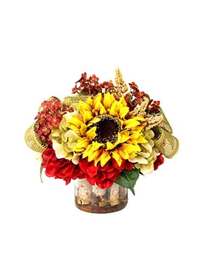 Creative Displays Sunflowers, Burg Hydrangeas & Astilbe with Burlap Ribbon in Birch Glass Vase, Gold...