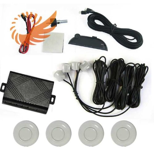 Car Led Display 4 Parking Sensor Reverse Backup Radar Sound Alarm System Milky White