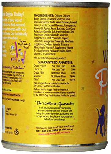 Wellness Complete Health Just For Puppy Chicken & Salmon Natural Wet Canned Dog Food, 12.5-Ounce Can (Pack of 12)_Image4
