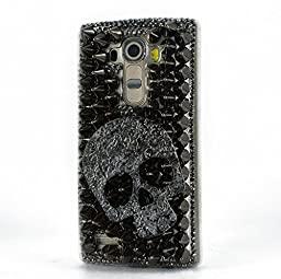 LG Leon Case, Sense-TE Luxurious Crystal 3D Handmade Sparkle Diamond Rhinestone Clear Cover with Retro Bowknot Anti Dust Plug - Punk Big Skull / Black