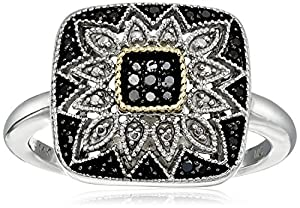 Sterling Silver and 14kt Gold Square Shape Black Diamond Art Deco Ring (1/7 cttw), Size 7