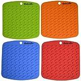 Bekith Silicone Pot Holder,trivet Mat,jar Opener,spoon Rest and Garlic Peeler (Set of 4) Non Slip,flexible,durable,dishwasher Safe,heat Resistant Hot Pads