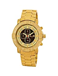 JBW-Just Bling Men's JB-6105-A Large Gold Plated Stainless Steel Diamond Watch