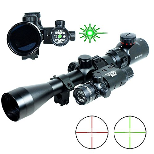 Lukher 3-9x40 Hunting Rifle Scope Mil-Dot illuminated Red/Green Snipe Scope & Green Laser Sight (Custom Airsoft M4 Parts compare prices)