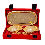 Odna Bichona Apple Shaped Gold Plated Brass Bowl Set Of 5 Pcs (22.86X9.52X12.7, Golden)