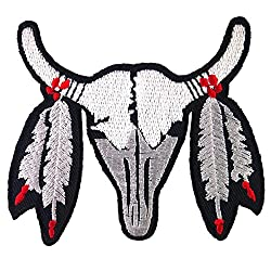 Buffalo Cow Ox Bull Skull Biker Embroidered Iron on Patch