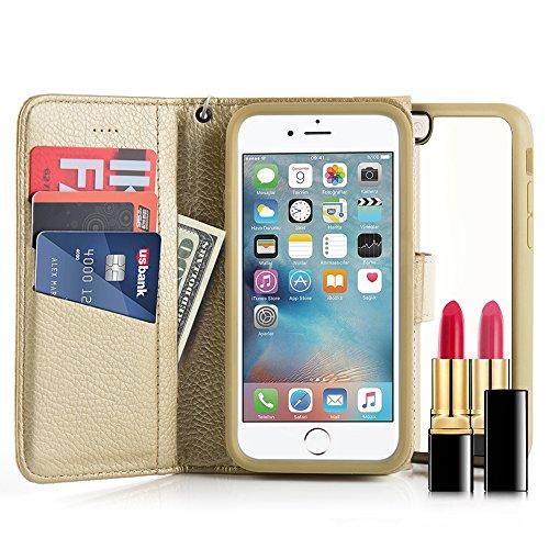 iPhone6ケース iPhone6s ケース 手帳型 PUレザー ケース 保護ケース プラスティック鏡付き カード収納ホルダー付き 横置きスタンド機能付き マグネット式 財布型カバー【4.7インチ ゴールド 金】
