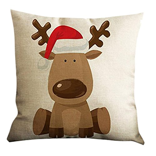 GBSELL Christmas Elk Deer Pillow Case Throw Cushion Cover Sofa Home Car  Party Decor