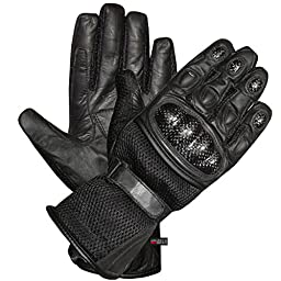 CARBON Fiber Motorcycle Mesh & Leather Race Gloves M
